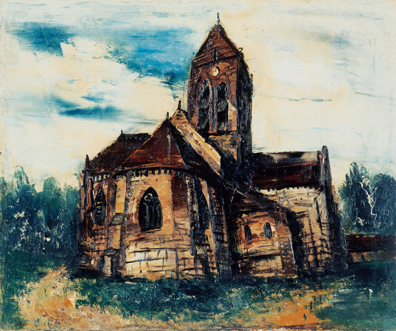 佐伯祐三《オーヴェールの教会》(1924年、鳥取県立博物館蔵)