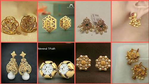 Latest Gold Ear Studs Designs / Small Earrings Designs For Girls 2018