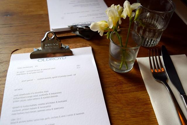 Lunch Menu at Oldroyd, Islington