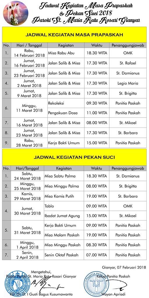 Jadwal Acara Pekan Paskah 2018 (2)