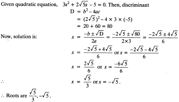 Quadratic Equations Chapter Wise Important Questions Class 10 Mathematics 131