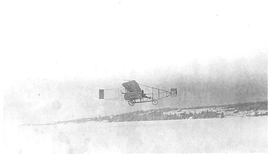 The Silver Dart circling over Baddeck Bay, Nova Scotia. Photo taken on March 23, 1909.