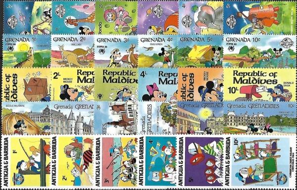 Známky Walt Disney - 30 rôznych MNH sada 3