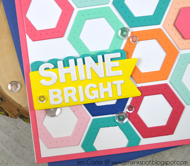 Jen Carter Winnie Walter Josephine Hexagons Holiday Tiles Shine Bright Closeup