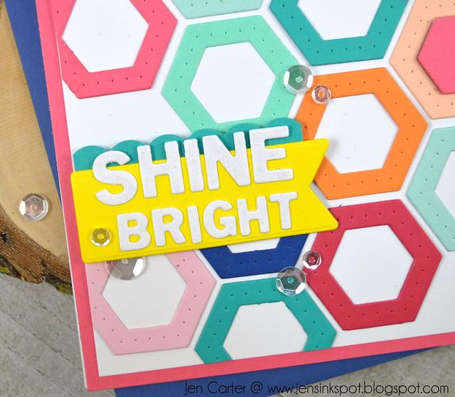 Jen Carter Winnie Walter Josephine Hexagons Holiday Tiles Shine Bright Closeup