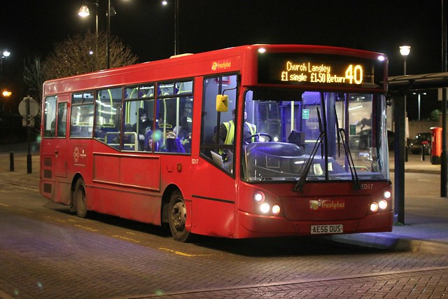 Trustybus / Galleon Travel . Roydon , Essex . AE56OUS . Harlow Town  Station , Essex . Tuesday 30th-January-2018 .