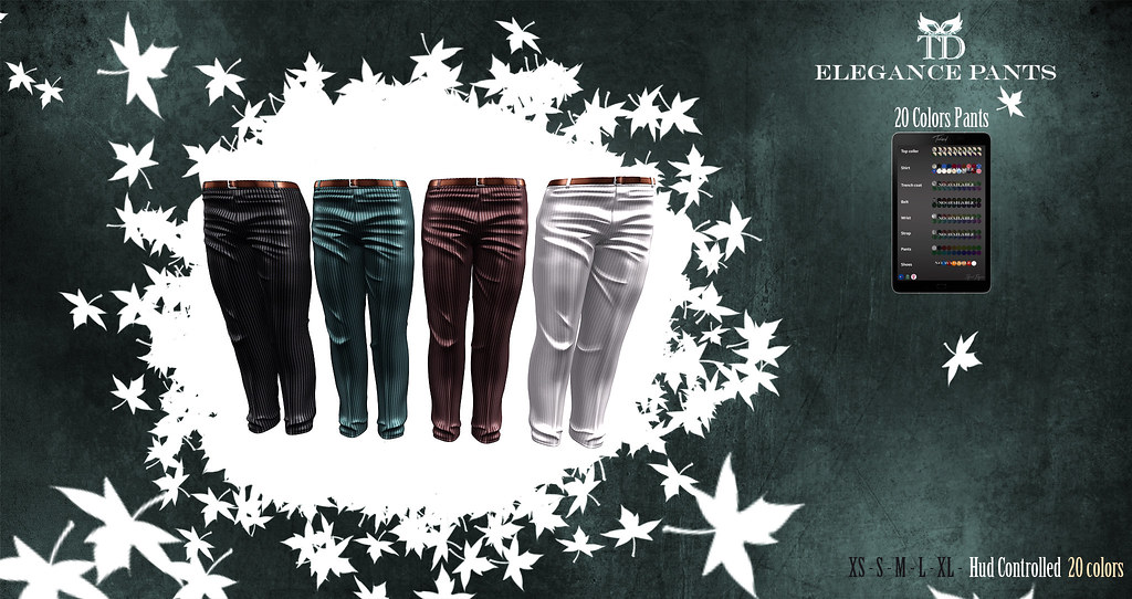 PROMO 24 HOURS 75 L$^TD^ Elegance Pants 20 colors Hud Controlled Standard Sizes for men