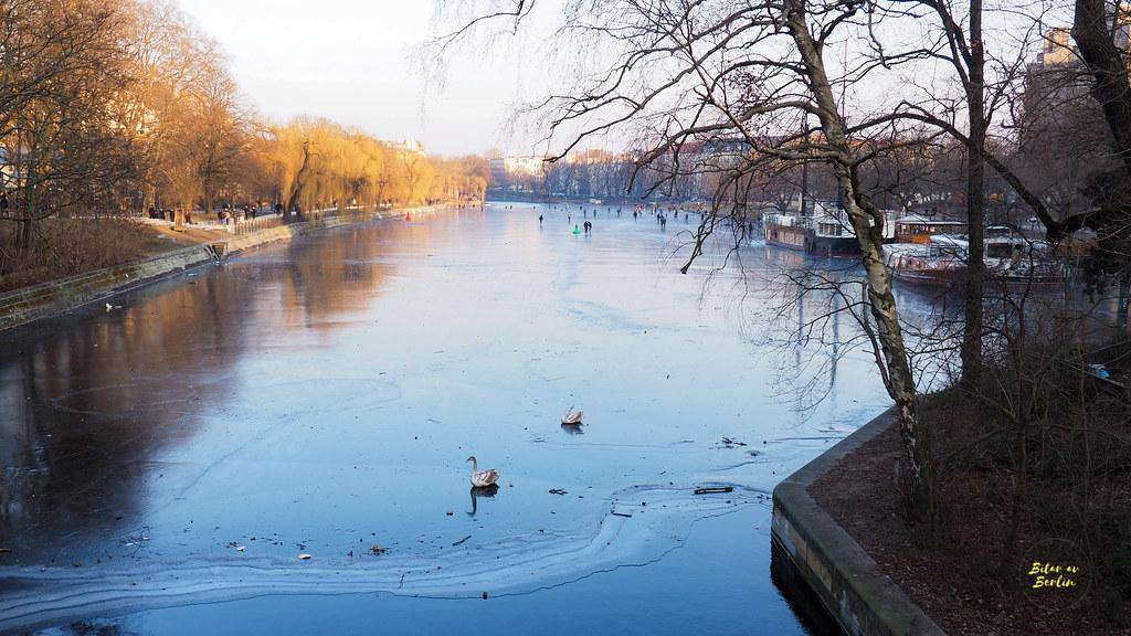 Donuts, vintersol och promenad på frusen kanal