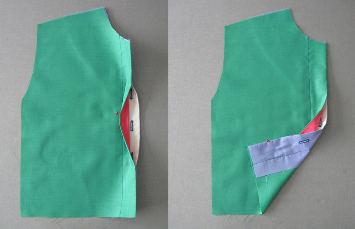 Hidden buttonhole placket example