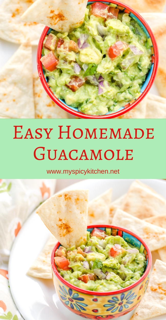A long vertical Pinterest pin for guacamole