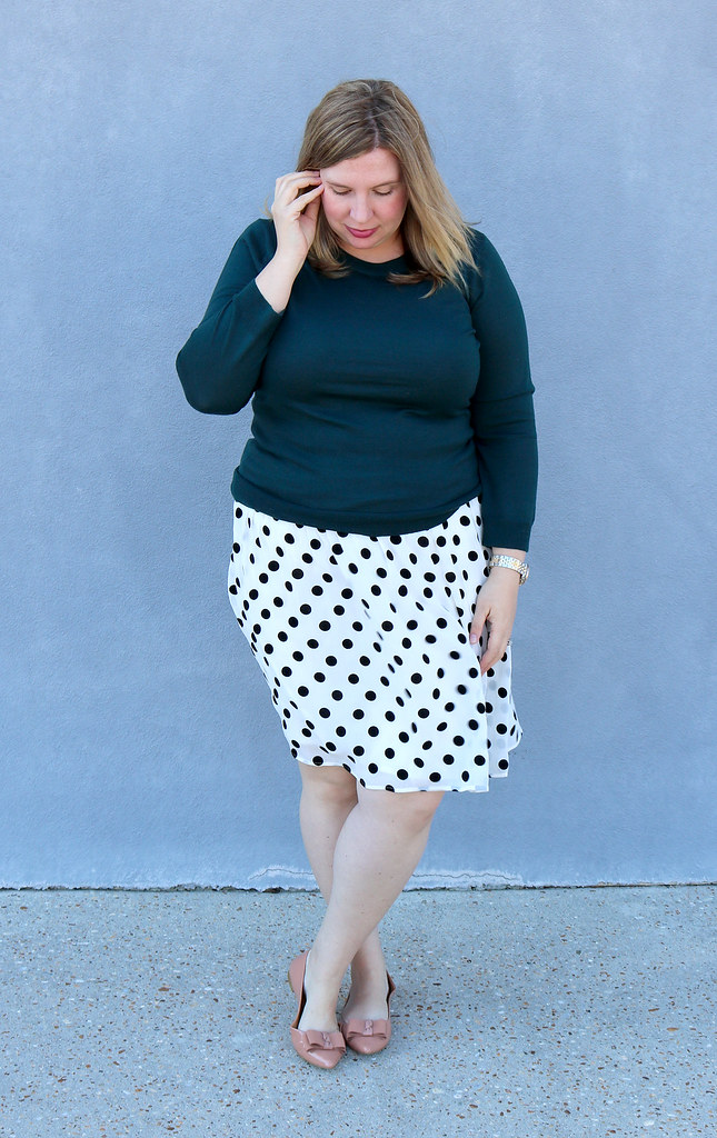 green tippi sweater, black and white polka dot, bow flats 8
