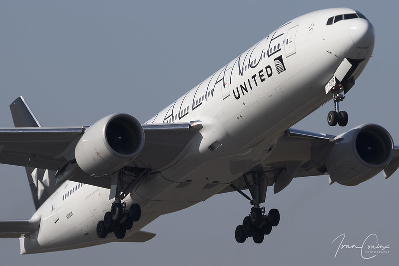 Boeing 777-222/ER – United Airlines – N218UA – Brussels Airport (BRU EBBR) – 2018 02 24 – Takeoff RWY 07R – 01 – Copyright © 2018 Ivan Coninx
