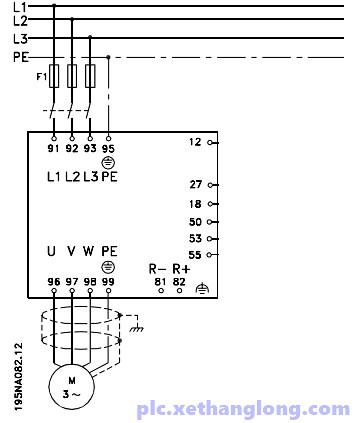 Sơ đồ đấu nối động cơ và biến tần Danfoss cơ bản