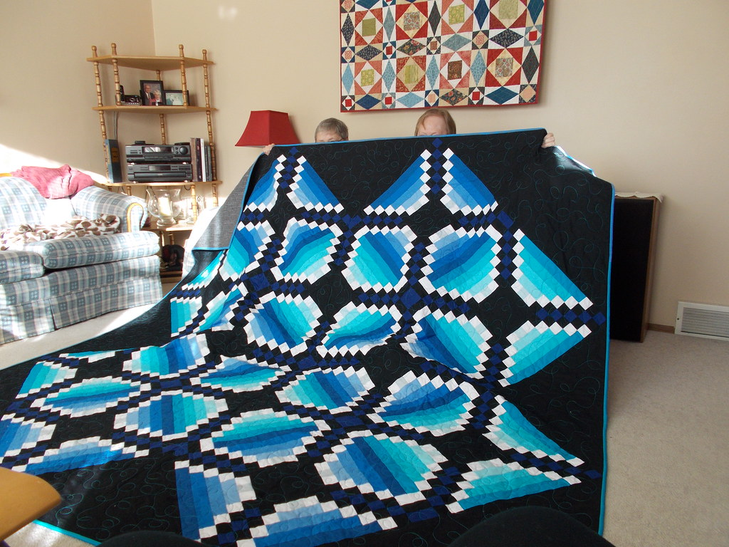 Anniversary quilt for Mickey & Leo by JoAnne & Sandi Walton at Piecemeal Quilts