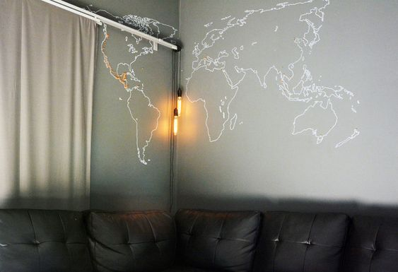 world map outline on a wall