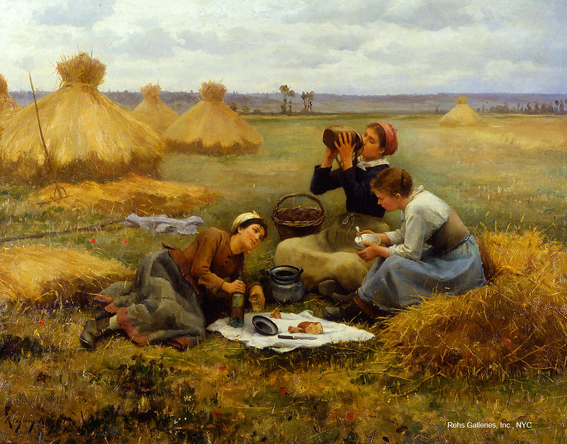 Breakfast in the Fields by Daniel Ridgway Knight, 1884. Image courtesy of Rehs Galleries, Inc., NYC