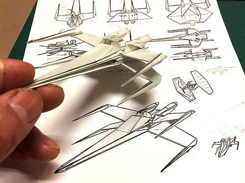 I am inking the last page of the X-Wing fighter origami diagram