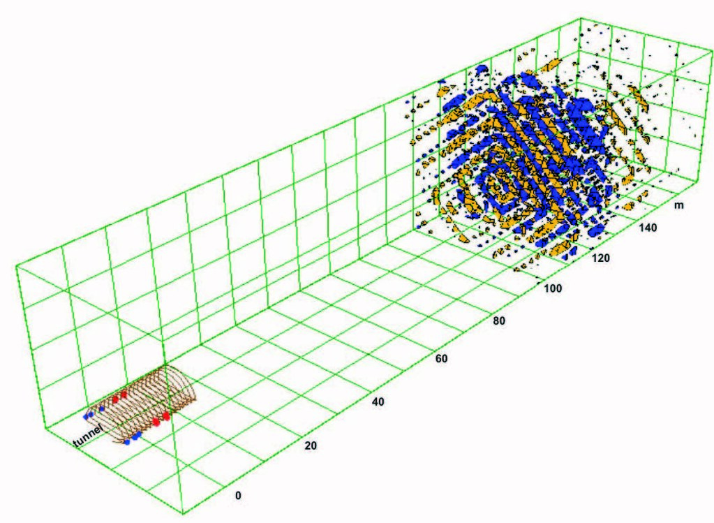 Результативный куб сигналов отражённых волн с бортов тоннеля по методу сейсмической томографии (TRT 6000).
