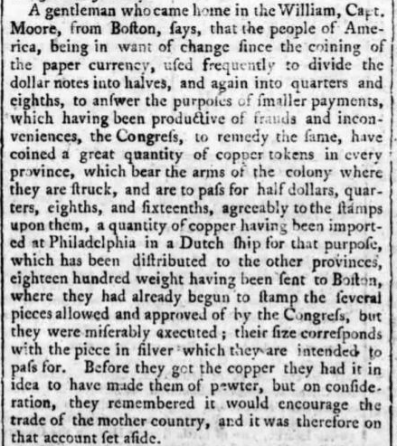 1776 British Article on Massachsetts State Coinage