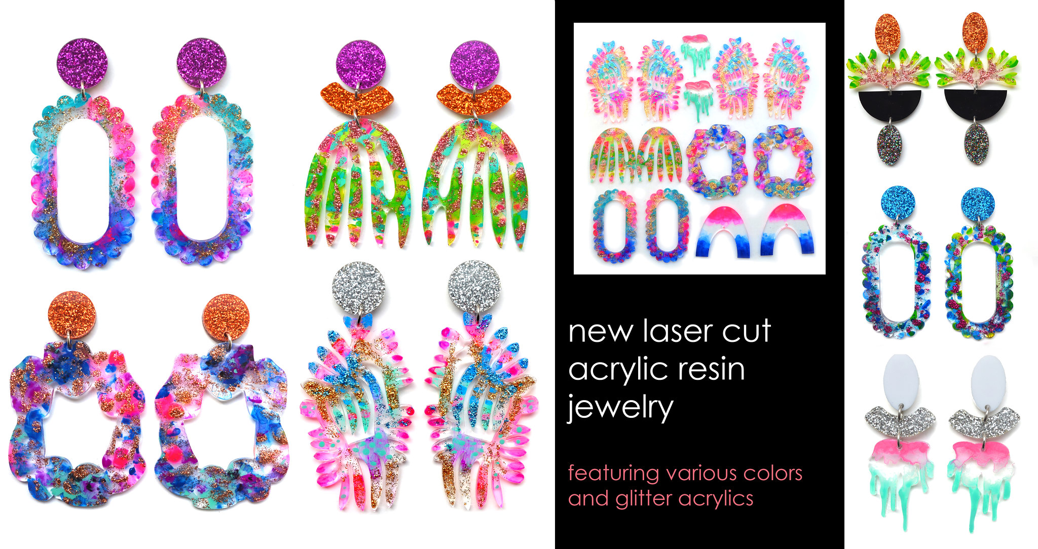 Boo and Boo Factory - Colorful Leather and Laser Cut Acrylic Statement Jewelry