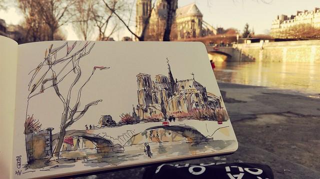 Notre-Dame depuis le quai, décrue de la Seine, Paris