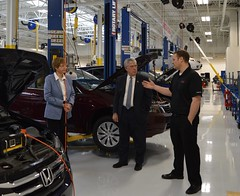 Reps. Storms and Zawistowski learn about the training programs at Honda