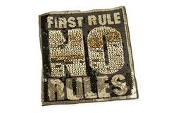 Pailletten Patch FIRST RULE NO RULES, Aufnäher, ca. 20x23cm, Applikation