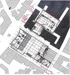 Plattegrond van het plein waarop aangegeven is in welke gevels neststenen geplaatst zullen worden. Afbeelding Soeters en Van Eldonk architecten.