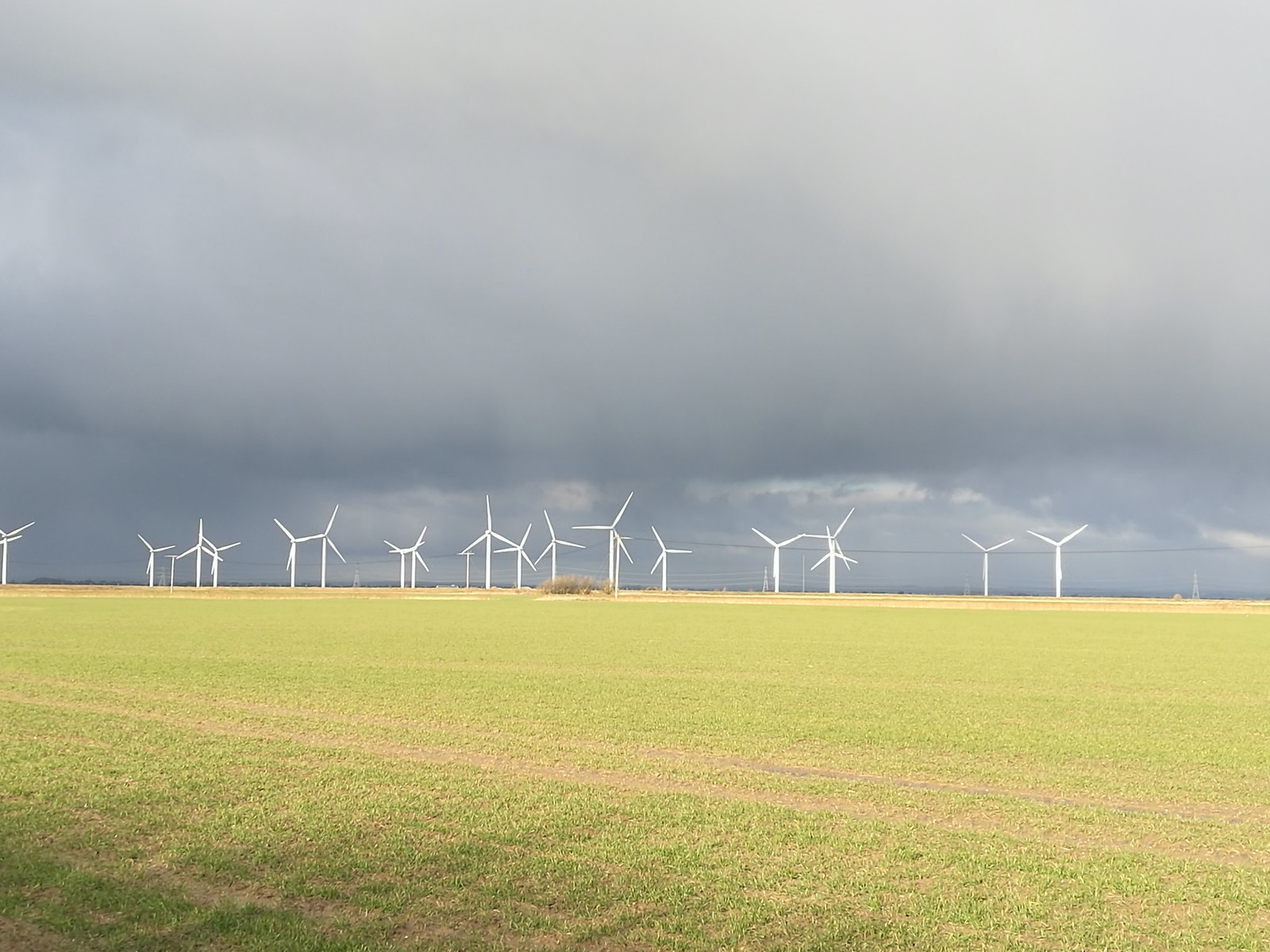 Dark Clouds and Wind Farm SWC 154 - Rye to Dungeness and Lydd-on-Sea or Lydd or Circular (Wind Farm Extension of Rye Ending) [taken by Emma P]