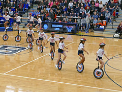 Small unicycles in a row