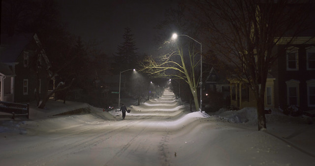 Chestnut St during Bombogenesis, night; Wakefield, Massachsuetts (2018)