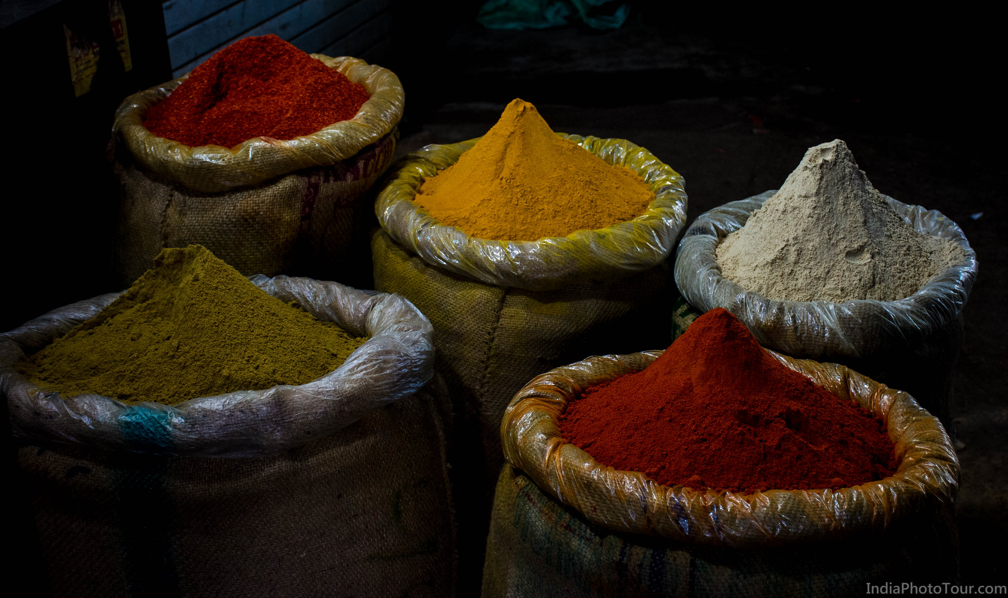 Crushed spices for sale in the spice market of Khari Baoli