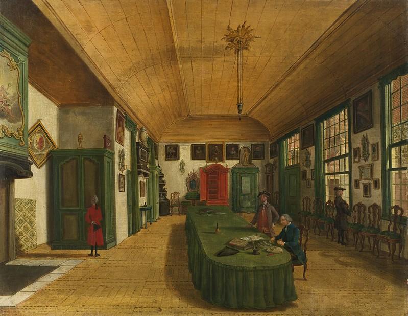 Paulus Constantijn la Fargue - Interieur van de zaal van het genootschap 'Kunst wordt door Arbeid verkregen' te Leiden (1780)