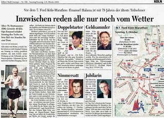 4.10.2003 Porträt KStA - Jubilarin Köln-Marathon