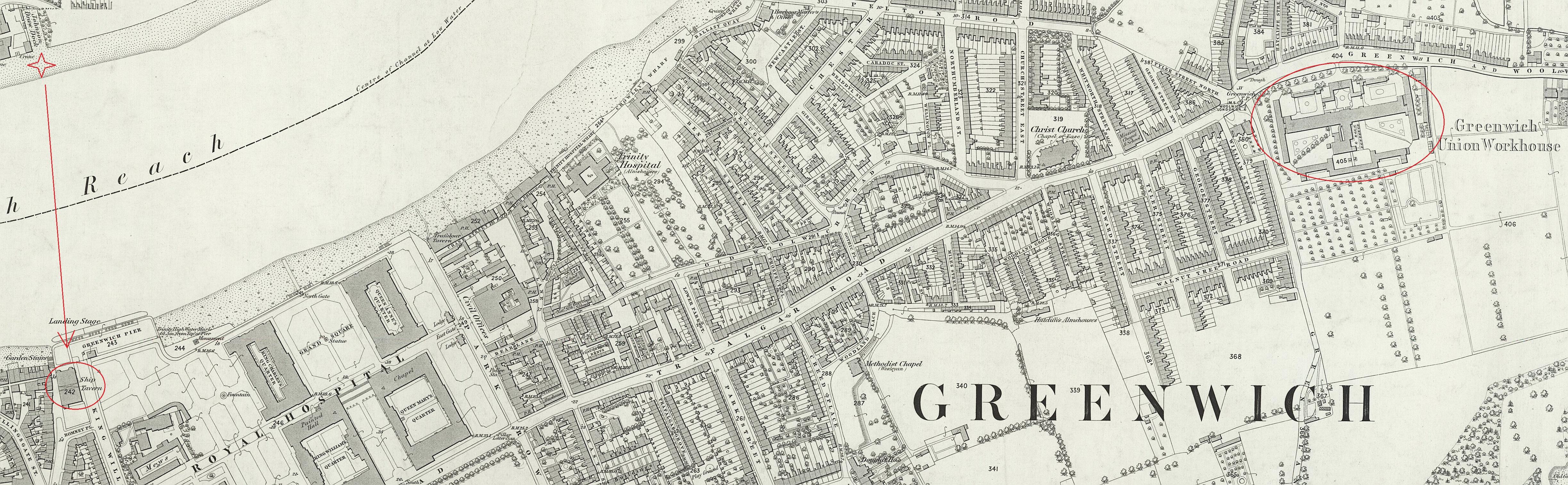 Greenwich detail map 1869 w markings