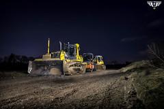 Bulldozer bei Nacht