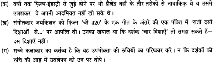 Chapter Wise Important Questions CBSE Class 10 Hindi B - तीसरी कसम के शिल्पकार शैलेंद्र 14b