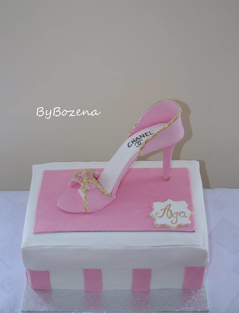 Chocolate sponge with mascarpone and raspberries filling decorated with handmade edible shoe topper by Cakes ByBozena