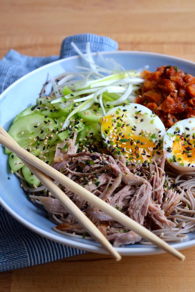 Cold Korean Noodle Bowl #korean #noodles #bowlfood #duck #eggs #soba