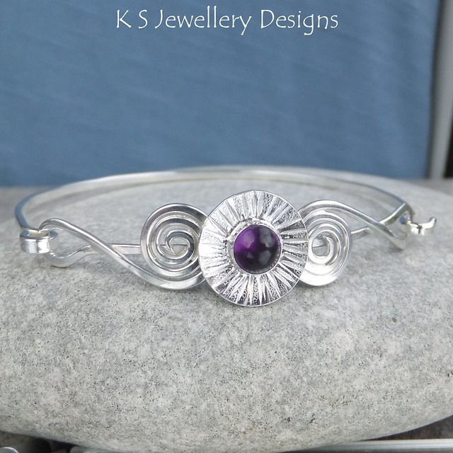 Amethyst Daisy Cup & Spirals Sterling Silver Bangle (commission)