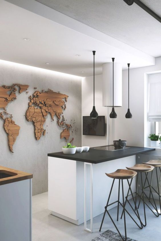 world map outline on a bedroom wall