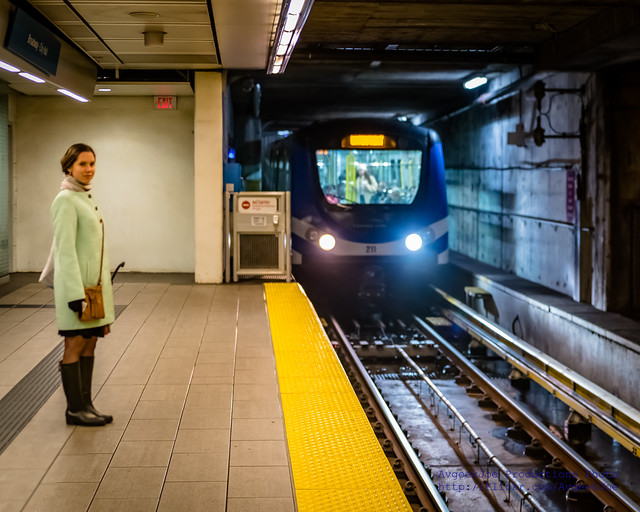 A Beautiful Canadian Lady & Approaching Canada Line Train #MyTransLink