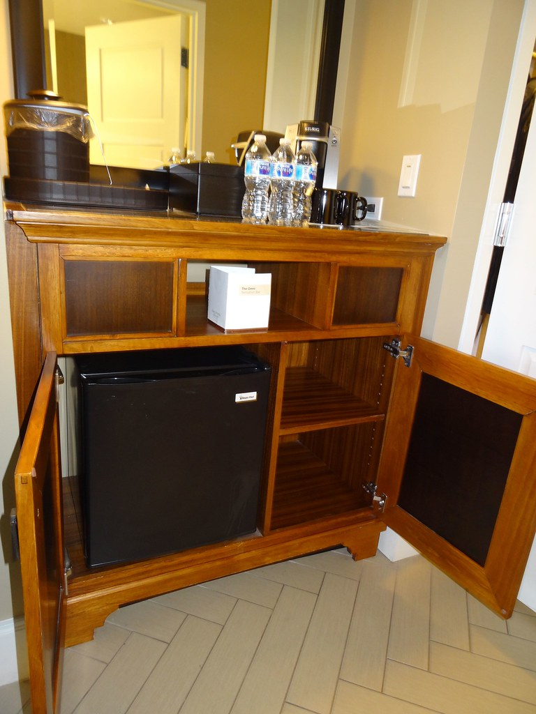 Coffee bar and minifridge at the Omni Nashville