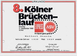 11.09.1988 Urkunde Kölner Brückenlauf 15 km