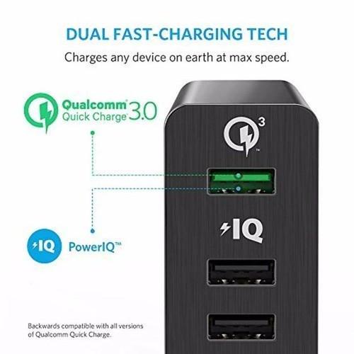 Sạc ANKER PowerPort+ 6 cổng 60w Quick Charge 3.0 có PowerIQ (Đen) Price: VNĐ855000.0 Qualcomm Quick Charge 3.0 Tự hào không phải 1, hoặc 2, mà là 3 công nghệ sạc nhanh. Sạc Anker PowerPort+ 2 có thể sạc bất kỳ điện thoại hoặc máy tính bảng nào với tốc độ