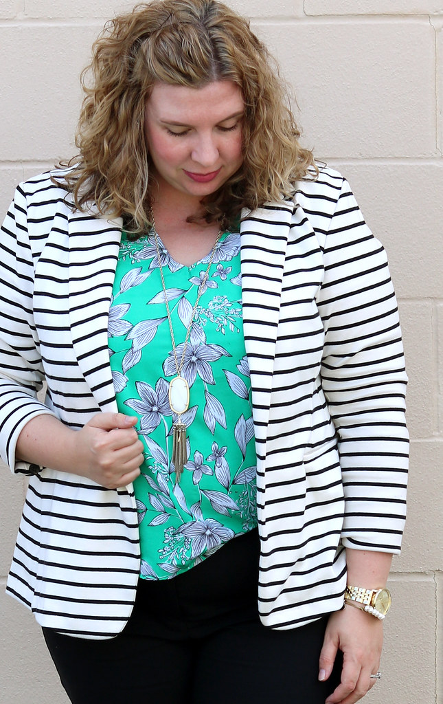 black and white stripe blazer, green floral shell, black pencil pants, bow flats 3