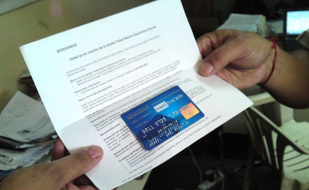 tarjeta alimentaria de $2000