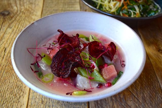Sea Bream and Candy Beetroot Ceviche at Chicama, Chelsea
