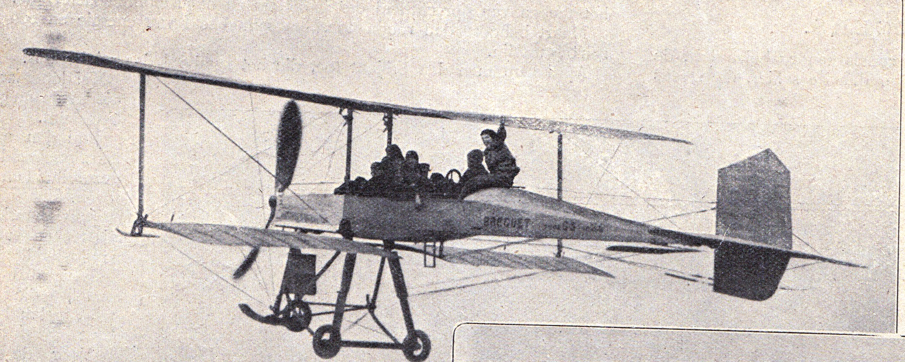 The Frenchman Louis Breguet with around 10 passengers in his plane above the airport of Douai on March 11, 1911. The plane was airborne around 10 minutes with speeds up to 100 km/h. The Type IV was first flown in 1911, and was the first Breguet aircraft to be produced in quantity. It was used by the French Army, the R.F.C.. and Siam's Army Air Unit. It is notable for the extensive use of metal in its construction, unusual in an aircraft of its time.