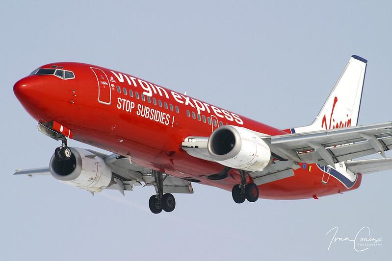 Boeing 737-36N – Virgin Express – OO-VEN – Brussels Airport (BRU EBBR) – 2004 02 29 – Landing RWY 25L – 01 – Copyright © 2004 Ivan Coninx